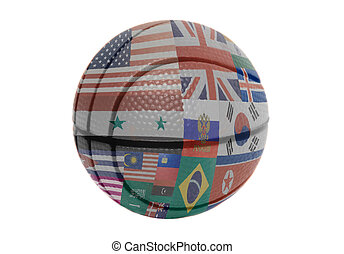 Flags all countries of world on volleyball ball