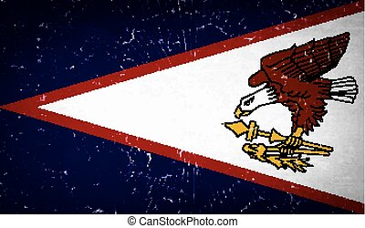Flags American Samoa with broken glass texture. Vector
