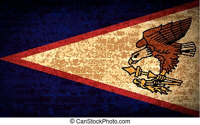 Flags American Samoa with dirty paper texture. Vector