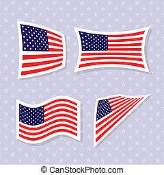 flags., americano, set, elegante