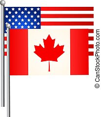 flags., amerikaan, vector, illustration., canadees
