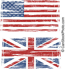 flags., amerikai, vektor, grunge, brit
