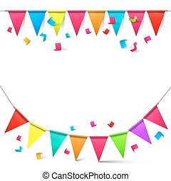 Flags and Confetti Vector Illustration Isolated on White Background