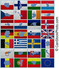 Flags and maps of European Union countries on a sackcloth