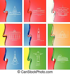 Flags and sights of different countries icons in set collection for design. Famous building vector symbol web illustration with flags. Usa, China, Japan, Germany, UK, India, France, Brazil, Italy.