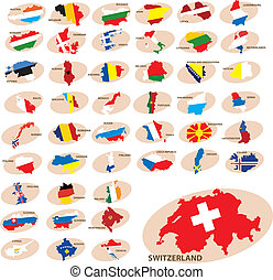 Flags and silhouettes of the countries. Europe