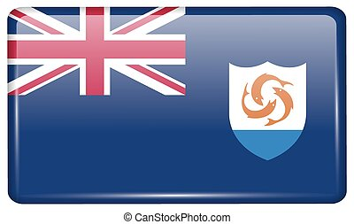 Flags Anguilla in the form of a magnet on refrigerator with reflections light. Vector