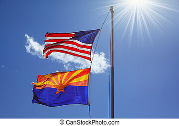Flags are against the shining sun - Flags of the United...