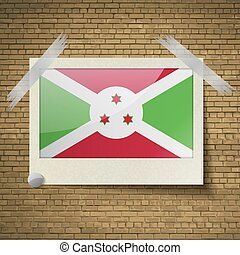Flags Burundi at frame on a brick background. Vector