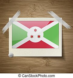 Flags Burundi at frame on wooden texture. Vector