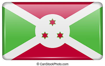 Flags Burundi in the form of a magnet on refrigerator with reflections light.