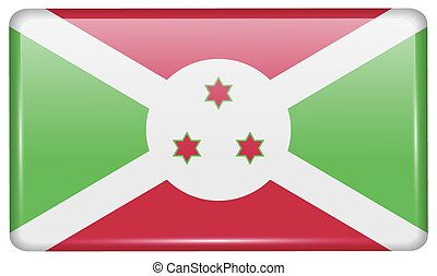 Flags Burundi in the form of a magnet on refrigerator with reflections light. Vector