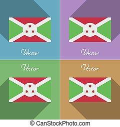 Flags Burundi. Set of colors flat design and long shadows. Vector