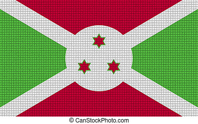 Flags Burundi with abstract textures. Rasterized