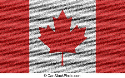 Flags Canada on denim texture. Vector