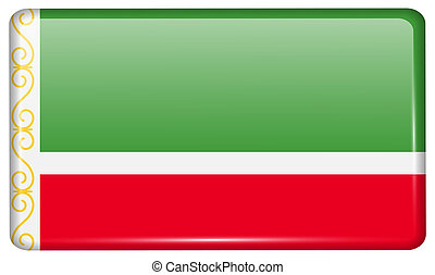 Flags Chechen Republic in the form of a magnet on...