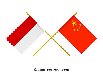 Flags, China and Indonesia - Flags of China and Indonesia,...