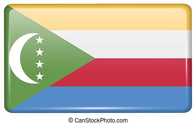 Flags Comoros in the form of a magnet on refrigerator with reflections light. Vector