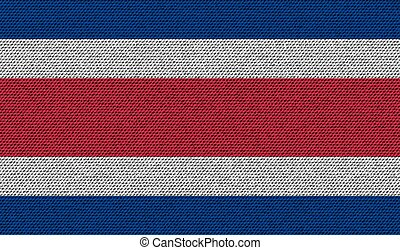 Flags Costa Rica on denim texture. Vector
