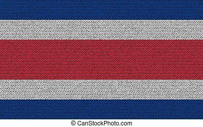 Flags Costa Rica on denim texture. Vector