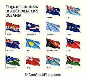 Flags countries Australia and Oceania