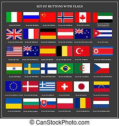 flags., ensemble, bannières, populaire