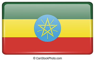 Flags Ethiopia in the form of a magnet on refrigerator with reflections light.