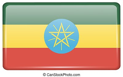 Flags Ethiopia in the form of a magnet on refrigerator with reflections light. Vector