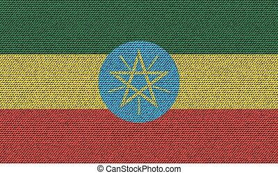 Flags Ethiopia on denim texture. Vector