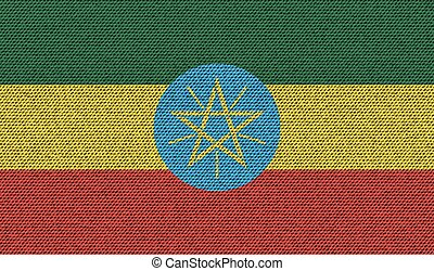 Flags Ethiopia on denim texture. Vector