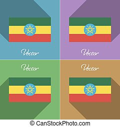 Flags Ethiopia. Set of colors flat design and long shadows. Vector