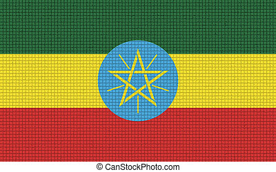 Flags Ethiopia with abstract textures. Rasterized