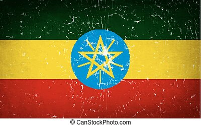 Flags Ethiopia with broken glass texture. Vector
