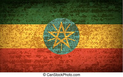Flags Ethiopia with dirty paper texture. Vector