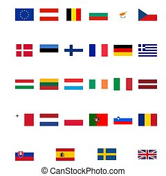 Flags Europe - Flags of the European Union isolated over ...