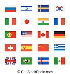 Flags flat icons
