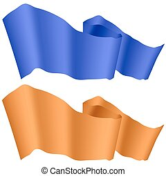 Blue and Orange Ribbons Isolated
