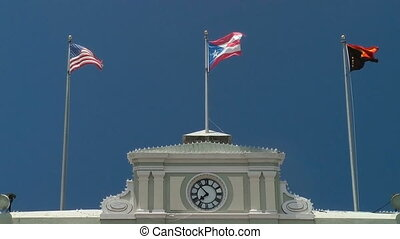 Flags fly atop government building