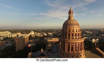 Flags Fly Dusk Austin Texas Capital Building Motion - Aerial...