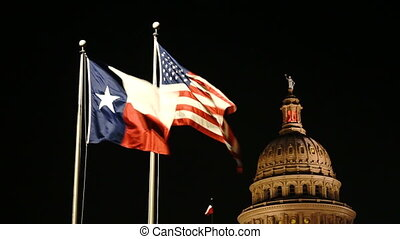 Flags Fly Night Falls Austin Texas Capital Building Motion -...