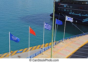 Flags Flying in the Harbor of Piraeus, Athens, Greece