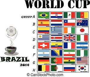 Flags for soccer world cup 2014 Brazil