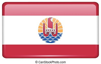 Flags french polynesia in the form of a magnet on refrigerator with reflections light. Vector