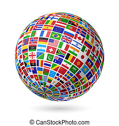 Flags globe - Vector illustration
