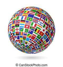 Flags globe - Vector illustration