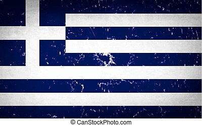 Flags Greece with broken glass texture. Vector