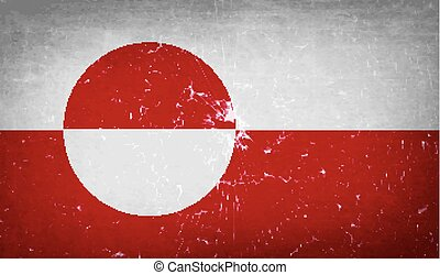 Flags Greenland with broken glass texture. Vector