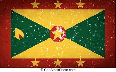 Flags Grenada with broken glass texture. Vector