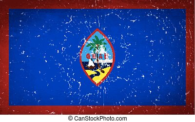 Flags Guam with broken glass texture. Vector