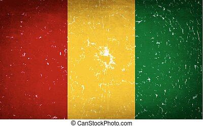 Flags Guinea with broken glass texture. Vector
